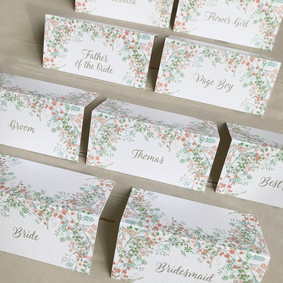 WEDDING place cards | PERSONALISED with guest name | Coral and Peach Floral | Menu Choice | NAME Tags | Table Name Cards | Table Menu