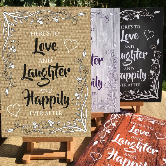 RUSTIC Wedding SIGNS | Love, Laughter, Happily Ever After | PRINTED Wood, Chalk Board, Hessian or Digital | A3 on Foam board | Free Delivery