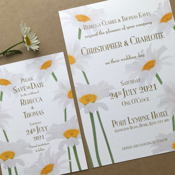 DAISY Wedding Invitation | Evening Invitations | Matching SAVE the DATE | Textured card | Kraft envelopes | No Minimum Order | Fast Delivery