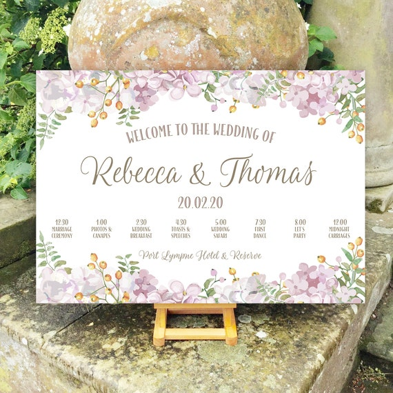 Wedding WELCOME sign | Dusky Pink Floral design | TIMELINE Order of the Day icons | PRINTED on Board, Poster or Digital | Fast Delivery
