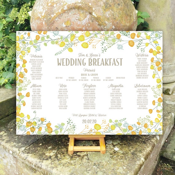 Wedding TABLE Plan and SEATING Chart | Spring and Summer Yellow Floral | PRINTED in three sizes or Digital Version | Fast Delivery