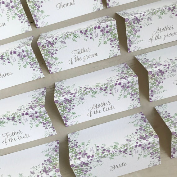 WEDDING place cards | PERSONALISED with guest name | Lilac Purple Floral Wreath | Menu Choice | NAME Tags | Table Name Cards | Table Menu