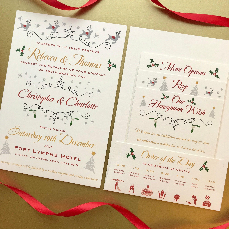 Christmas Wedding Invitation Pocket Fold Gifts Menu Rsvp