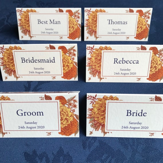 WEDDING place cards PERSONALISED with guest name | Menu choice | NAME Tags | Table Name Cards | Botanic Floral with Navy | No minimum order