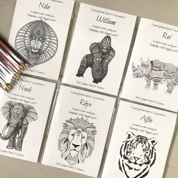 PERSONALISED Kids Activity Pack | Ideal GIFT or wedding favour for CHILDREN | Animal Safari Theme | Colouring Pencils | Cellophane Wrapped