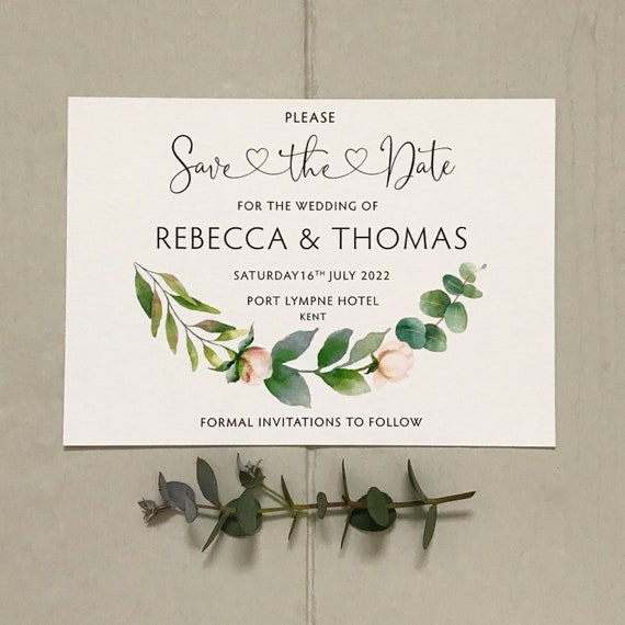 Wedding SAVE the DATE cards | Eucalyptus Greenery Design | Textured Card and Envelopes | Save the Day | Free Delivery