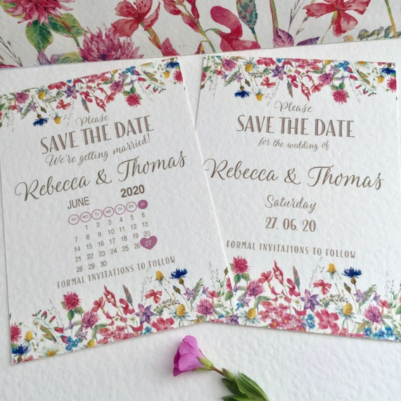Wedding SAVE the DATE cards | With or without a Calendar | Colourful WILDFLOWER Design | Printed on White Textured Card | Free Delivery