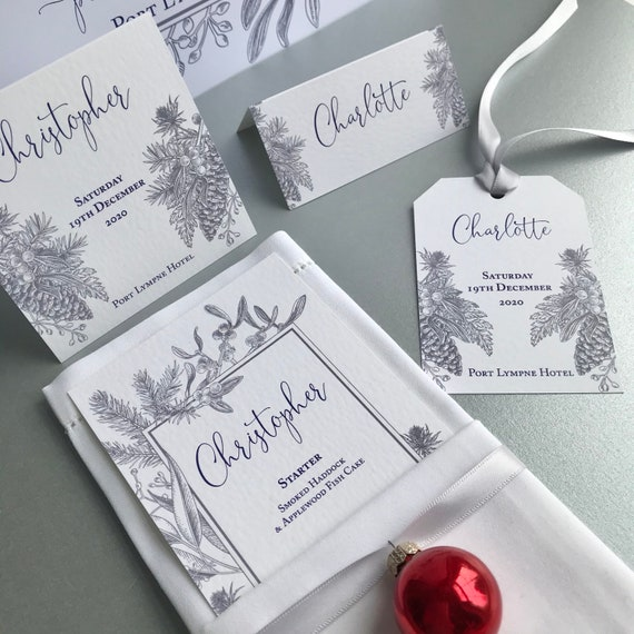 WINTER Wedding Place Cards | Silver Blue Floral | Textured Card | PERSONALISED with guest name | Menu Choice | Table Names | Fast Delivery