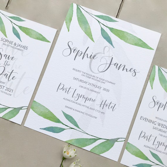 Greenery WEDDING Invitation | Evening Invitation | Matching SAVE the DATE | Watercolour Leaves | Textured card - envelope | No Minimum Order