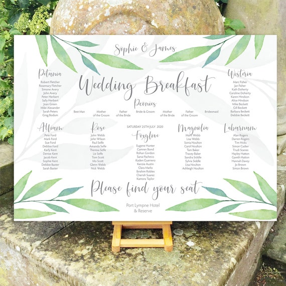 Wedding TABLE Plan SEATING Chart | Watercolour Greenery Leaf | Choose Silver or Black/Gold typography | PRINTED in three sizes or Digital