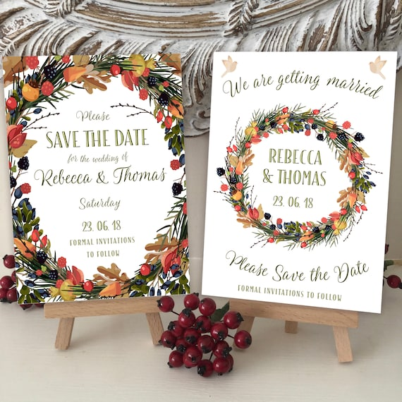 Wedding SAVE the DATE cards | Autumn WREATH | Two Designs | Berries Leaves Birds | Ivory Textured Card | Kraft Envelope | Free Delivery