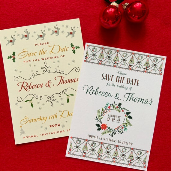 SAVE the DATE cards | Winter & Christmas Wedding | Printed on Ivory or White Textured card | Warm Red, Ivory, Gold, Green | Silver Envelopes