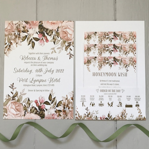 Wedding Invitation | POCKET-FOLD with Gifts, Menu, Rsvp | BLUSH, Caramel and Sage Green Floral | Choose White or Ivory Textured Card