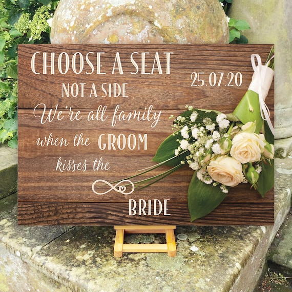 Choose a SEAT not a Side | PRINTED Wedding Seating SIGN | Ceremony Aisle Sign | Bridal Bouquet on Rustic Wood Design | Fast Delivery