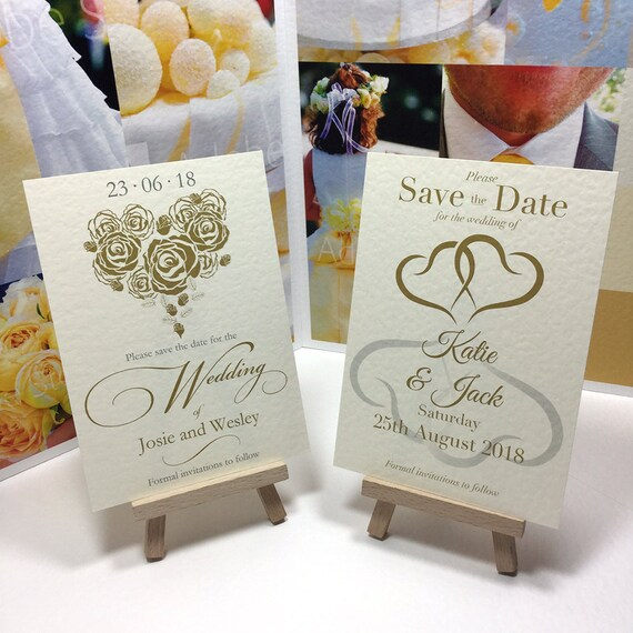Wedding SAVE the DATE cards | Romantic Hearts in Gold and Silver | IVORY textured card | Personalised with your Names & Date | Free Delivery