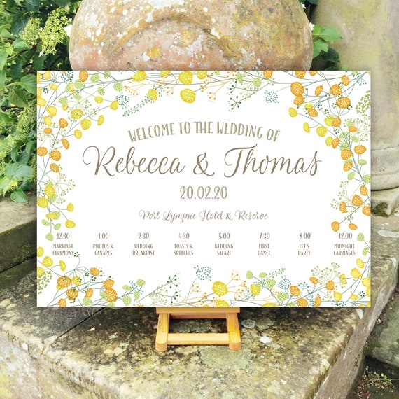 Wedding WELCOME sign | Summer Yellow Floral design | With TIMELINE Order of the Day | PRINTED on Board, Poster or Digital | Fast Delivery