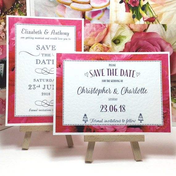 Hot PINK Wedding SAVE the DATE cards with Gerbera Daisy border pattern, Dark Blue lettering personalised & printed on white textured card.