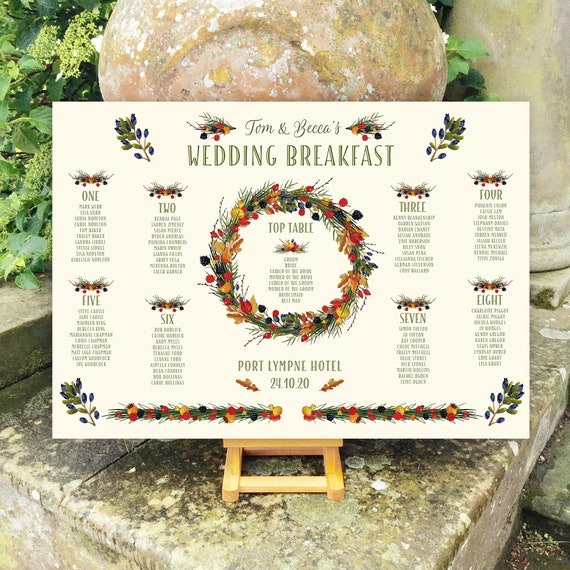 Wedding TABLE Plan SEATING Chart | Autumn Wreath design pale Ivory background | PRINTED in four sizes or a Digital Version | Fast Delivery