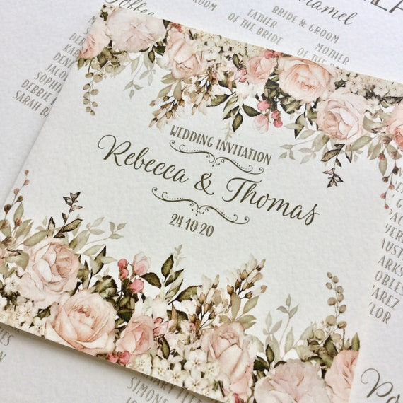 AUTUMN or WINTER FLORAL Wedding Invitation | Blush, Caramel, Ivory, Gold | Textured card and Envelope | includes Gift List and Rsvp details