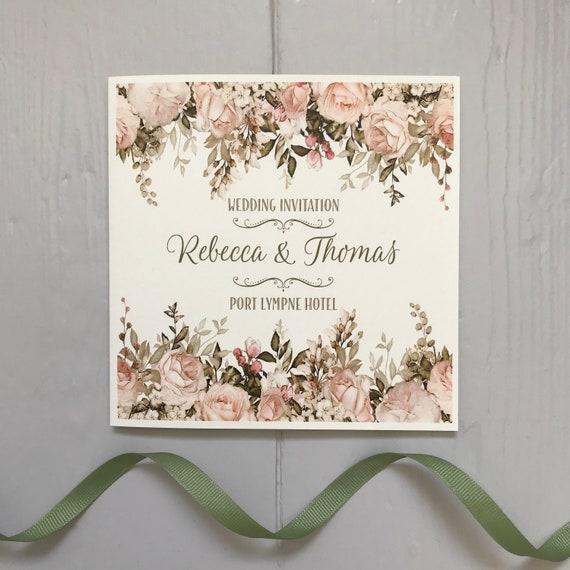 FLORAL Wedding Invitation | Blush Caramel Ivory Gold | Textured card and Envelope | With Gift List and Rsvp details | Free Delivery