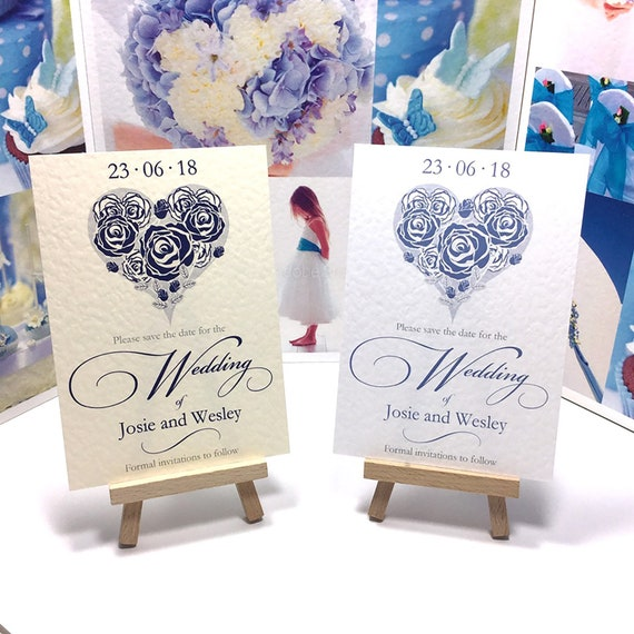 Wedding SAVE the DATE cards | Romantic Rose Hearts in shades of Blue | Choose Ivory or White textured card | Free Delivery