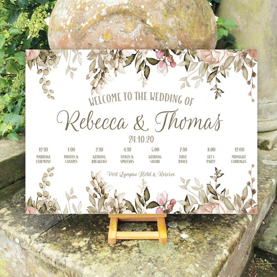 Wedding WELCOME sign | Blush and Caramel Floral design | TIMELINE Order of the Day | PRINTED on Board, Poster or Digital | Fast Delivery