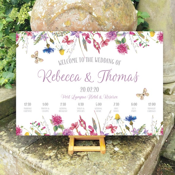 Wedding WELCOME sign | Colourful Wild Flower Floral design | TIMELINE Order of the Day | PRINTED on Board, Poster or Digital | Fast Delivery