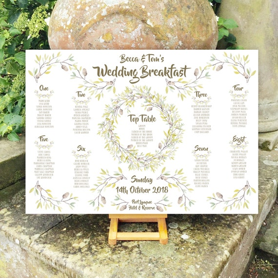 Autumn Wedding TABLE Plan SEATING Chart | Rustic Acorn Wreath design | PRINTED in Three sizes or a Digital Version | Fast Delivery