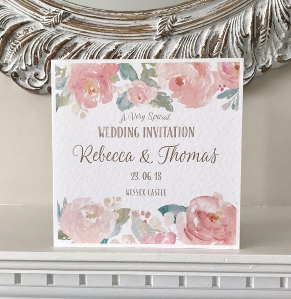BLUSH Pink & MINT Floral Wedding Invitation | Watercolour PEONIES | Textured card and envelope | With Gift List and Rsvp | Free Delivery