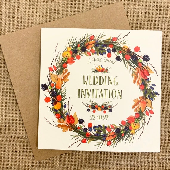 Wedding Invitation AUTUMN Wreath | Berries and leaves | Ivory Textured card | Ivory or Kraft envelope | Gift List Rsvp Card Order of the Day