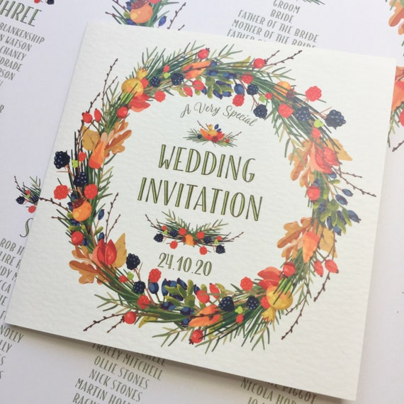 Wedding Invitation AUTUMN Wreath | Berries and leaves | Ivory Textured card | Ivory or Kraft envelope | Gift List and Rsvp | Free Delivery