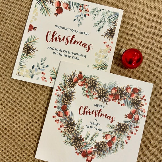 Rustic Wreath CHRISTMAS Card | Add your own MESSAGE | Two Designs Printed on beautiful TEXTURED card | Kraft Envelope | Free Delivery