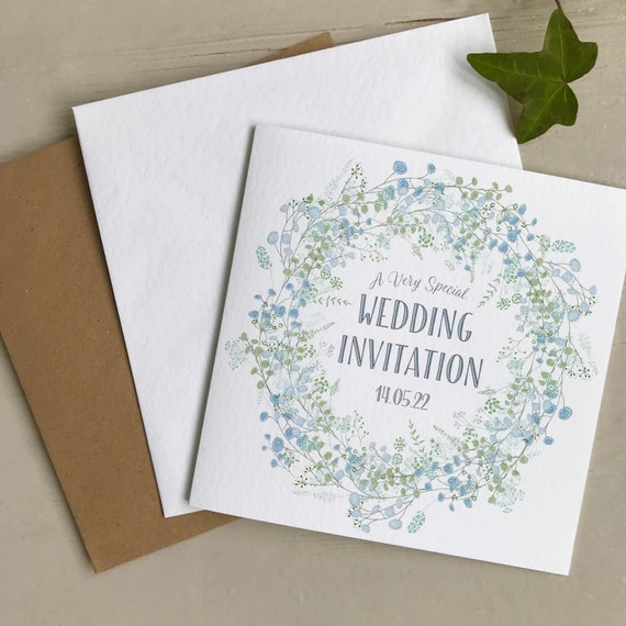 WEDDING INVITATION | Pastel BLUE Floral Wreath | Textured card Kraft envelope | Personalised Wording for Gifts, Rsvp, Menu, Timeline of Day