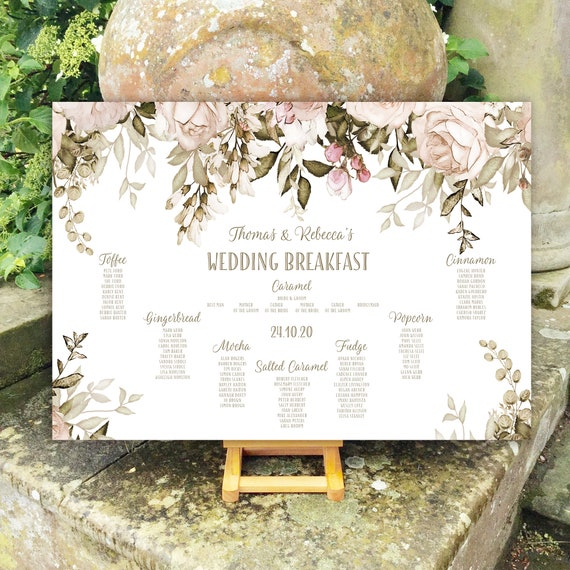 Wedding TABLE Plan and SEATING Chart | Blush and Caramel Floral Design | PRINTED in four sizes or as a Digital Version | Fast Delivery