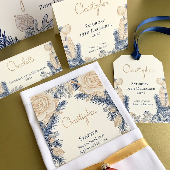 WINTER Wedding Place Cards | Gold, Blue Floral on Ivory or White | PERSONALISED with guest name | Menu Choice | Table Names | Fast Delivery