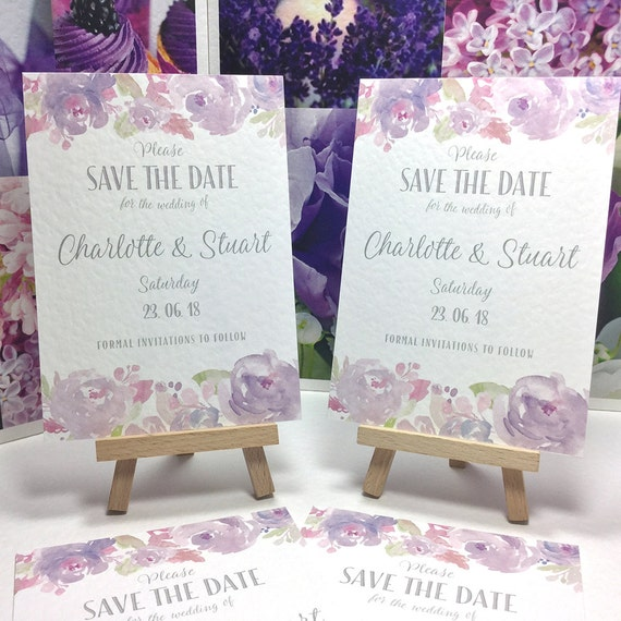 Floral Wedding SAVE the DATE cards | Watercolour PEONIES in Dusky Purple, Pastel Lilac, Silver type | Textured card | Free Delivery