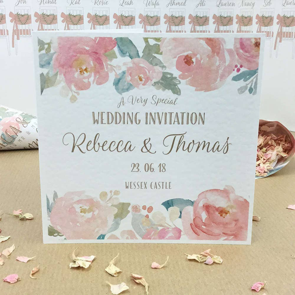 Blush Pink Mint Wedding Invitation Gold Lettering And Watercolour