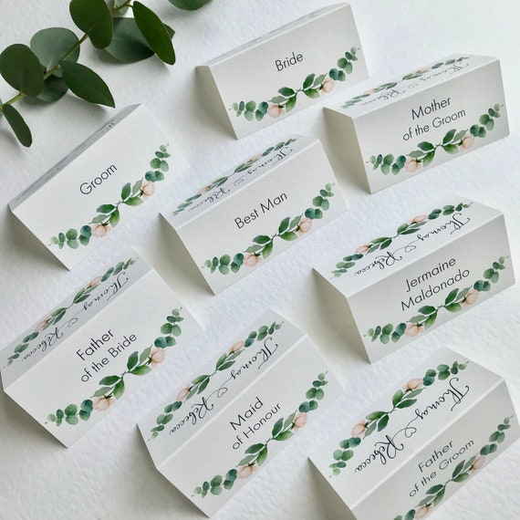 WEDDING place cards PERSONALISED with guest name | Menu choice | NAME Tags | Table Name Cards | Watercolour Eucalyptus Leaf | Free Delivery