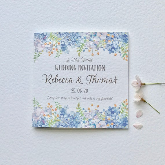 Blue FLORAL Wedding Invitation | Wisteria and Hydrangea | GOLD type | Textured card | includes Gift List and Rsvp details | Free Delivery