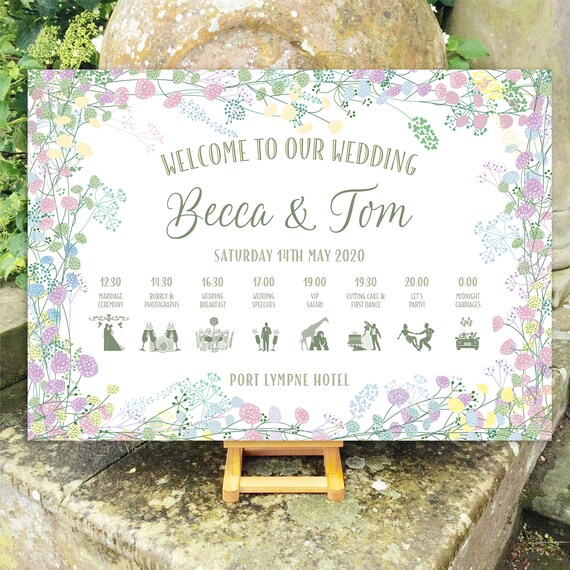 Wedding WELCOME sign | Pastel Floral Wreath design | With TIMELINE Order of the Day | PRINTED on Board, Poster or Digital | Fast Delivery