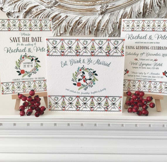 CHRISTMAS Wedding Invitation | Includes Gift and Rsvp details | Matching Save the Date and Evening Invites | Custom Wording | Free Delivery