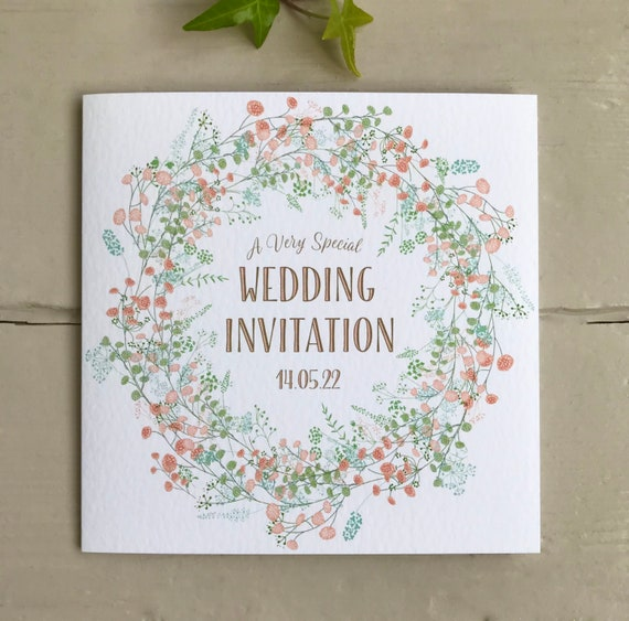 WEDDING INVITATION | Coral PEACH Floral Wreath | Textured card Kraft envelope | Personalised Wording for Gifts, Rsvp, Menu, Timeline of Day