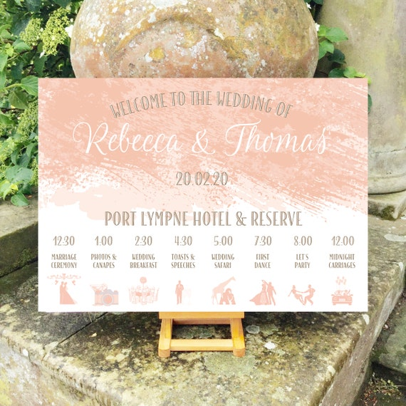 Peach Blush Wedding WELCOME sign | Paint Brush Watercolour | TIMELINE Order of the Day | PRINTED on Board, Poster or Digital | Fast Delivery