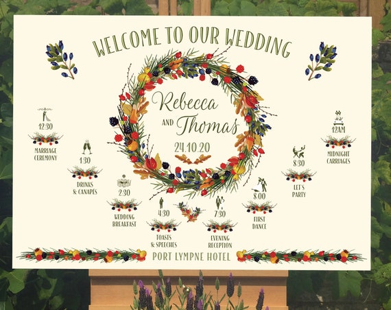 Wedding WELCOME sign | Autumn Wreath design | TIMELINE Order of the Day | PRINTED on Board, Poster or Digital Version | Fast Delivery
