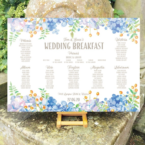Floral Wedding TABLE Plan and SEATING Chart | Pastel shades of Blue and Green | PRINTED in three sizes or Digital Version | Fast Delivery