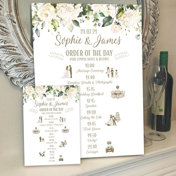 ORDER of the DAY with ICONS | A3 Wedding Sign on rigid board | A5 Cards | Personalised Design | Textured card | White Floral with Greenery