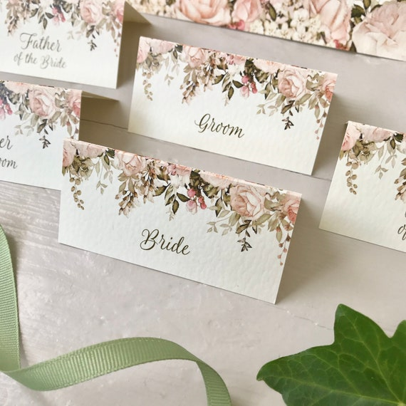WEDDING place cards | PERSONALISED with guest name | Menu choice | NAME Tags | Table Names | Blush Caramel Gold Autumn Floral on Ivory
