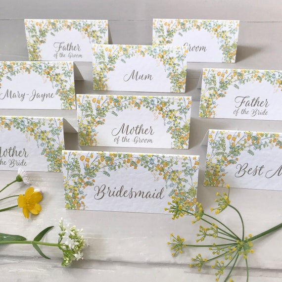 WEDDING place cards | PERSONALISED with guest name | Menu Choice | NAME Tags | Table Name Cards | Table Menu | Yellow Floral | Fast Delivery