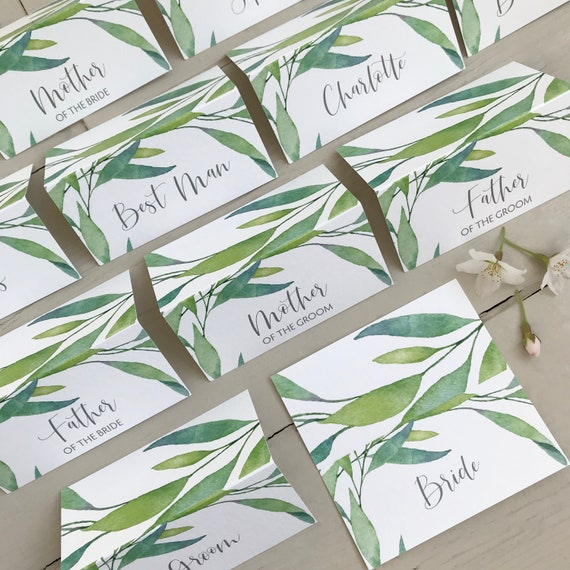 WEDDING place cards | PERSONALISED with guest name | Watercolour Greenery Leaf | Menu choice | NAME Tags | Table Name Cards | Table Menu