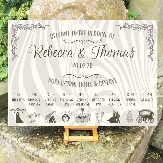 Zoo Wedding WELCOME sign | Safari Theme | TIMELINE Order of Day with icons | Zebra Design | PRINTED on Board, Poster, Digital, Fast Delivery